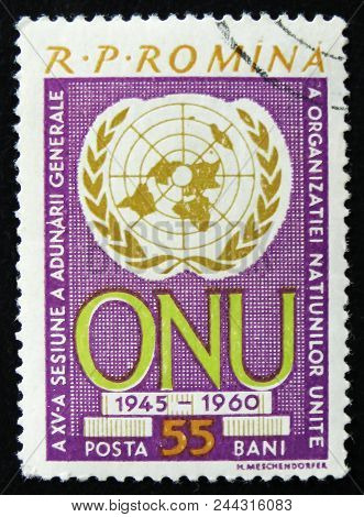 Moscow, Russia - April 2, 2017: A Post Stamp Printed In Romania Shows United Nation Organization Emb
