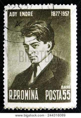 Moscow, Russia - April 2, 2017: A Post Stamp Printed In Romania Shows Portrait Of Hungarian Poet Ady