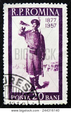 Moscow, Russia - April 2, 2017: A Post Stamp Printed In Romania Shows Bugler, Soldier With Horn, 80T