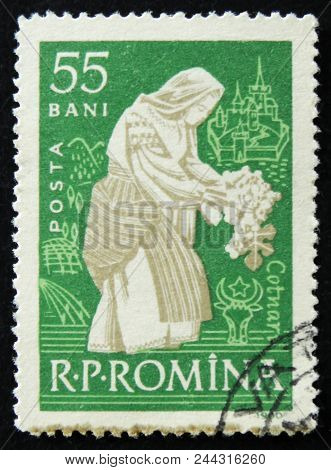 Moscow, Russia - April 2, 2017: A Post Stamp Printed In Romania Shows Woman Tending Vine Cotnari, Ci
