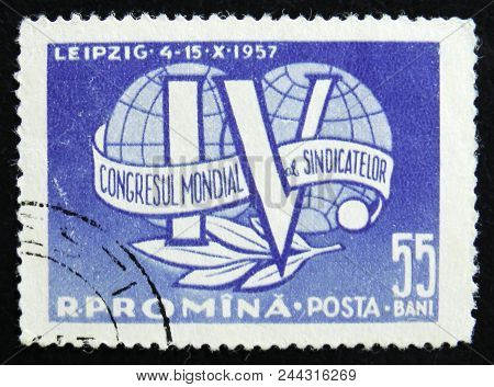 Moscow, Russia - April 2, 2017: A Post Stamp Printed In Romania Shows Iv Trade Union Congress Emblem