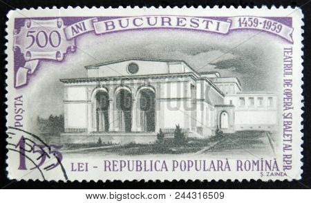 Moscow, Russia - April 2, 2017: A Post Stamp Printed In Romania Shows Opera House Building, 500 Anni
