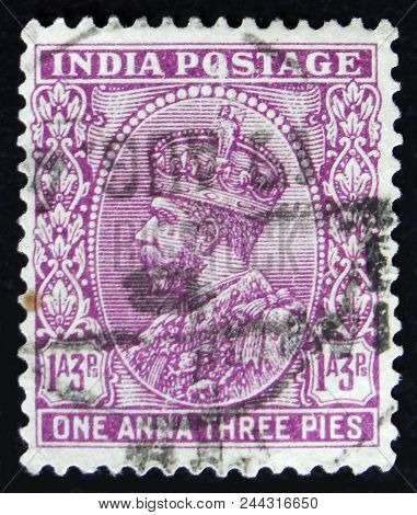 Moscow, Russia - April 2, 2017: A Post Stamp Printed In India Shows King George Vi, Circa 1941
