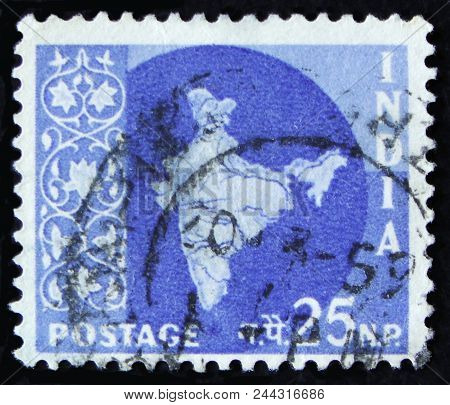 Moscow, Russia - April 2, 2017: A Post Stamp Printed In India Shows Map Of India, Circa 1957