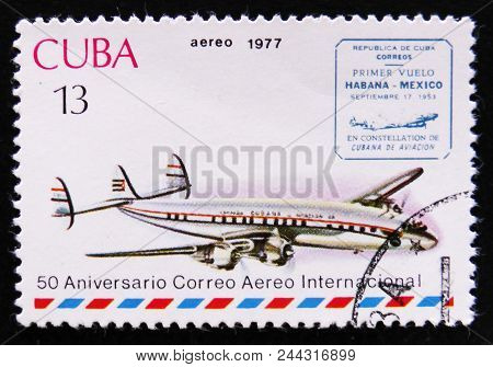 Moscow, Russia - April 2, 2017: A Post Stamp Printed In Cuba Shows Airplane And Havana-mexico Cachet