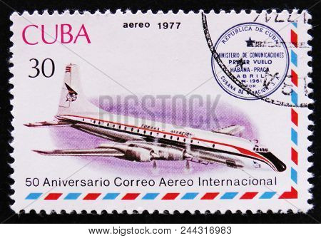 Moscow, Russia - April 2, 2017: A Post Stamp Printed In Cuba Shows Airplane And Havana-prague Cachet