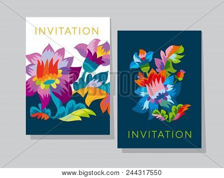 Vivid Color Bright Naive Flower Pattern. Folk Rustic Flowers Ornament For Header, Card, Invitation,