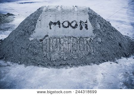 On The Gray Moon The Sand Is Inscribed By The Moon. Copy Space. On The Right Is A Plant Germ. Extrac
