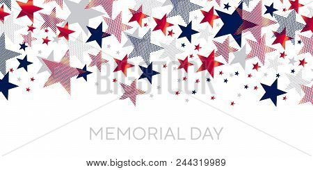 Red And Blue American Stars Scattered For Header Template. Us Memorial Day Design Element. Classic U
