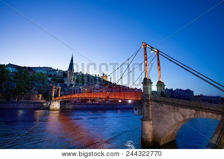 Passerelle Paul Couturier Footbridge Across The Saone River And Church Of St. George In The Vieux Ly