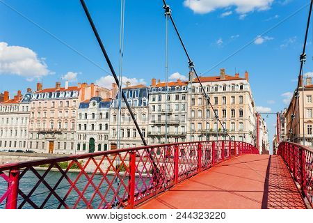Empty Passerelle St. Georges Footbridge Across The Saone River At Sunny Day, Lyon, France