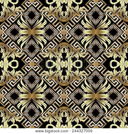 Baroque Gold 3d Seamless Pattern. Greek Vintage Background. Geometric Vector Design With Greek Key,
