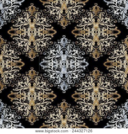 Baroque Gold Silver Seamless Pattern. Vintage Floral Background. Vector Design With Antique Damask B