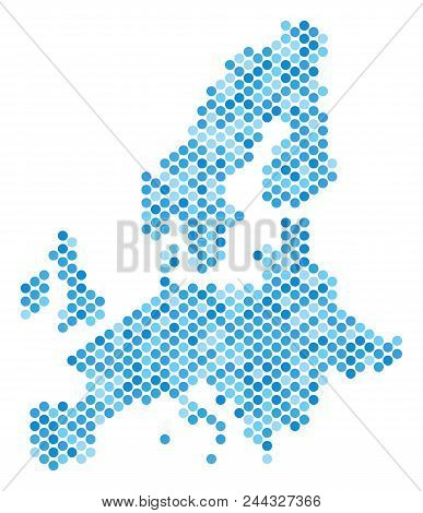 Blue Circle Dot European Union Map. Vector Geographic Map In Cold Blue Color Tones On A White Backgr