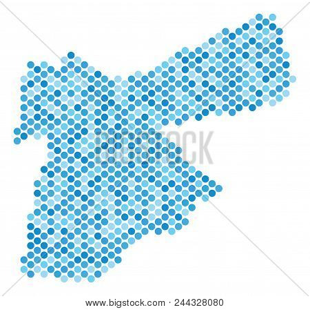 Blue Circle Dot Jordan Map. Vector Geographic Map In Cold Blue Color Tones On A White Background. Ve