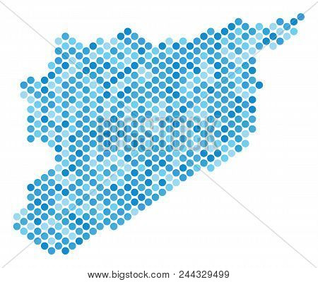 Blue Pixelated Syria Map. Vector Geographic Map In Blue Color Hues On A White Background. Vector Mos
