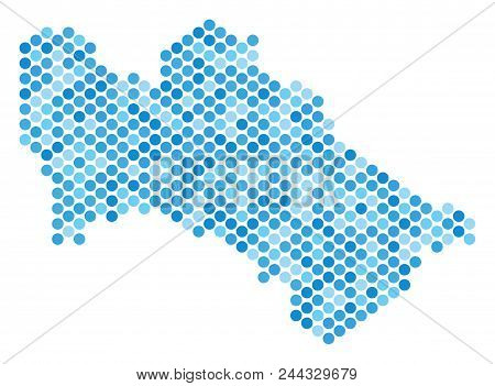 Blue Round Spot Turkmenistan Map. Vector Geographic Map In Blue Color Tones On A White Background. V