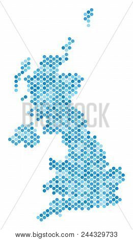 Blue Circle Dot United Kingdom Map. Vector Geographic Map In Blue Color Variations On A White Backgr