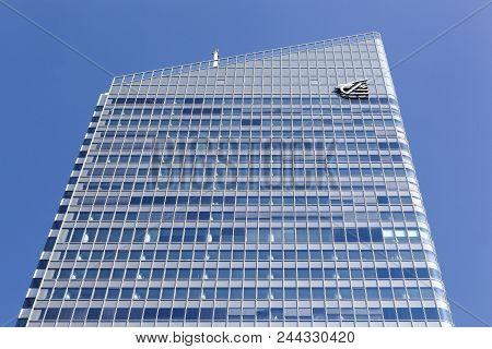 Lyon, France - March 21, 2018: The Incity Tower, The Highest Skyscraper In The District Of La Part-d
