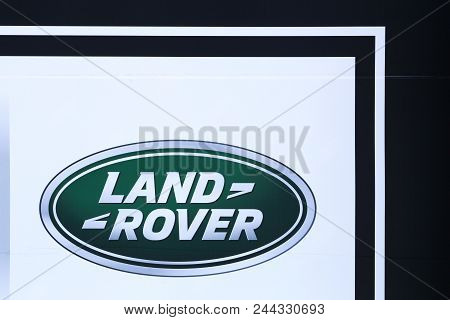 Decines, France - May 24, 2018: Land Rover Logo On A Wall. Land Rover Is A Car Brand That Specialise