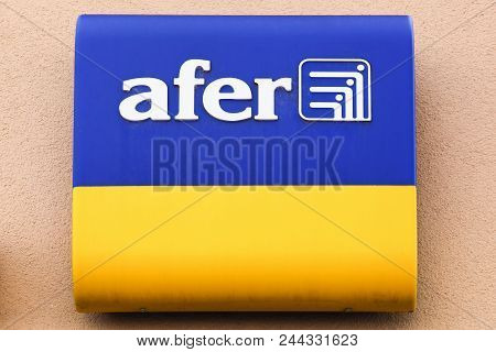 Belleville, France - May 21, 2018: Afer Logo On A Wall. Afer Is An Association Of Savers In France W