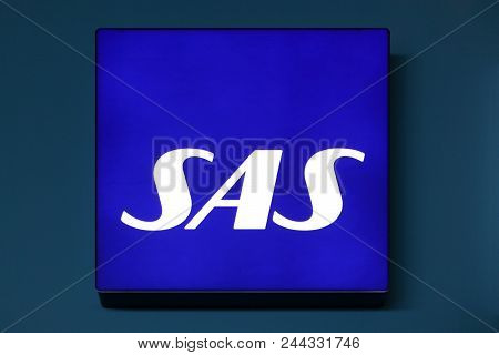 Copenhagen, Denmark - May 20, 2018: Sas Logo On A Wall. Scandinavian Airlines, Usually Known As Sas,