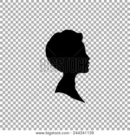Black Profile Silhouette Of Young Boy Or Man Head, Face Profile, Vignette. Hand Drawn Vector Illustr