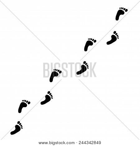 Black Silhouette Of Human Footprint Path Isolated On White Background. Foot Prints Diagonal Trail. V