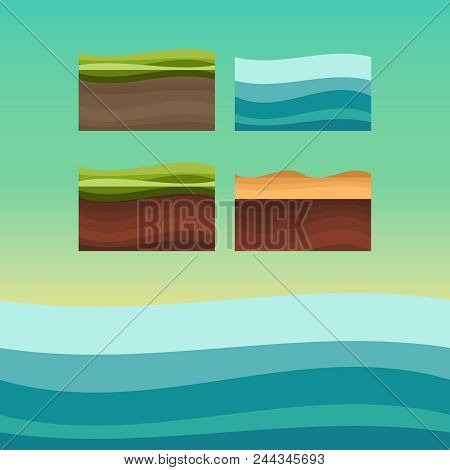 Game Ground Items. Nature Stone, Landscape Cartoon Style. Ui Games Ground Texture