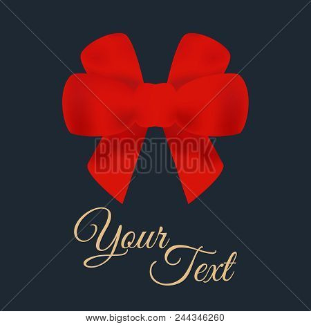 Decorative Red Bows With Ribbons. Vector Bow Silhouette. Beautiful Red Bows With Horizontal Ribbons