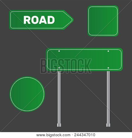 Highway Traffic Green Signs. Board Vector. Sign Street. Road Green Vector Sign. Arrow Blank Sign