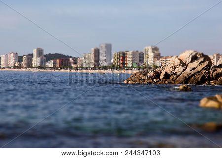 Platja D'aro Beach A Well Known Tourist Destination (costa Brava Catalonia Spain). Tilt Shift Blur E