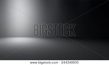 Perspective Floor Backdrop Black Room Studio With Gray Gradient Spotlight Backdrop Background For Di