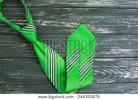 Tie On A Wooden Retro Background Necktie, Gray, Table