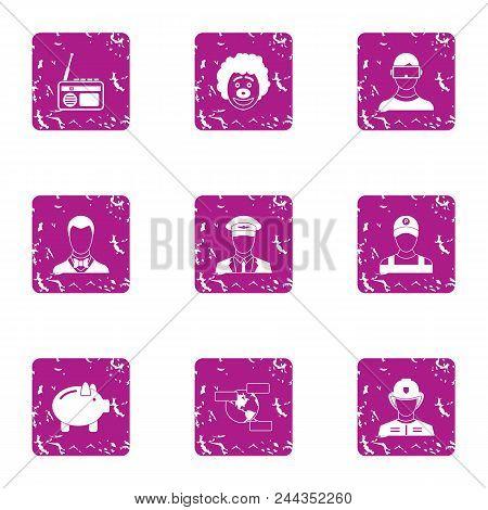 Executive Icons Set. Grunge Set Of 9 Executive Vector Icons For Web Isolated On White Background
