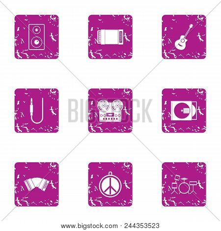 Work As Musician Icons Set. Grunge Set Of 9 Work As Musician Vector Icons For Web Isolated On White