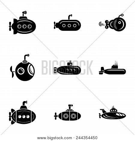 Submarine Cruiser Icons Set. Simple Set Of 9 Submarine Cruiser Vector Icons For Web Isolated On Whit