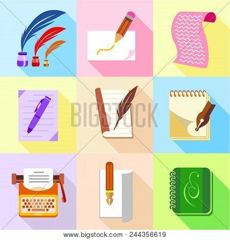 Stuff For Writer Icons Set. Cartoon Set Of 9 Stuff For Writer Vector Icons For Web Isolated On White