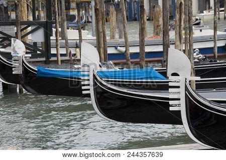Trhee Gondola Boats In The Venetian Lagoon