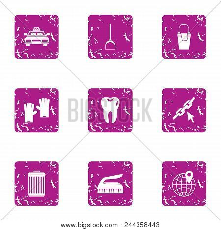 Big City Life Icons Set. Grunge Set Of 9 Big City Life Vector Icons For Web Isolated On White Backgr