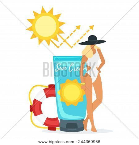 Vector Cartoon Style Illustration Of Beautiful Woman In Swim Suit Standing New Big Tube With Sun Blo