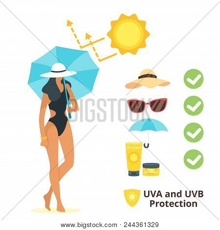 Vector Cartoon Style Illustration Of Woman In Swim Suit With Umbrella, That Reflect Uv Rays. Uva And