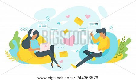 Vector Flat Style Illustration Of A Man And Woman Having Online Relationship. Characters Sitting In