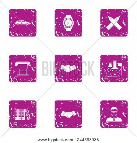 Literate Icons Set. Grunge Set Of 9 Literate Vector Icons For Web Isolated On White Background