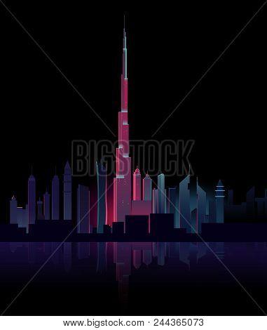 Dubai skyline, vector, colorful, tallest building, night view Dubai city with hotel tower skyline, neon illumination. UAE night cityscape architecture background, modern megapolis at Persian Gulf waterfront. Cartoon vector illustration