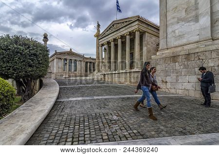Athens, Attica / Greece - March 27, 2013: The Academy Of Athens At The Center Of The City
