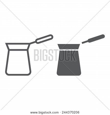 Turkish Cezve Line And Glyph Icon, Coffee And Cafe, Turkish Coffee Sign Vector Graphics, A Linear Pa