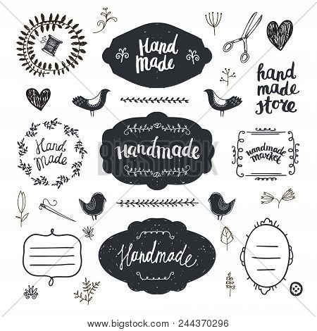 Vector Set Of Hand Drawn Doodle Frames, Badges. Handmade, Workshop, Hand Made Shop Graphic Design Se