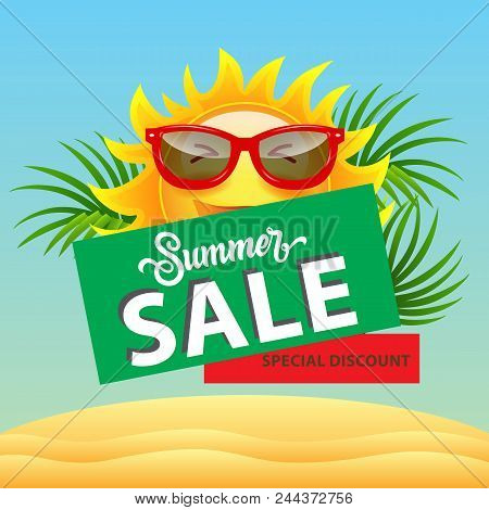 Summer Sale, Special Discount Poster Design With Cartoon Sun In Sunglasses, Palm Leaves And Sand Dun