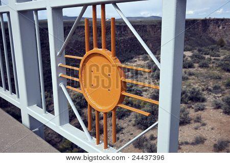 New Mexico symbol - Zia sun included in the railing on the Rio Grande Gorge Bridge. Taos New Mexico. poster